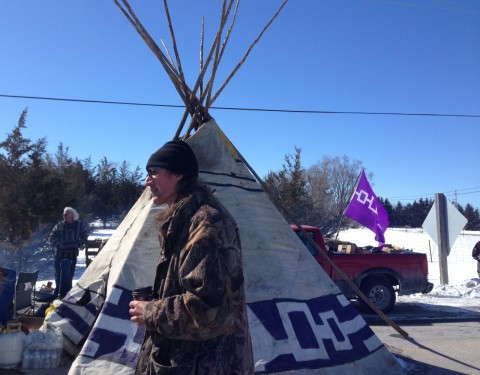 Shawn Brant at the protest site on Shannonville Road in March (Photo: Quinte News)